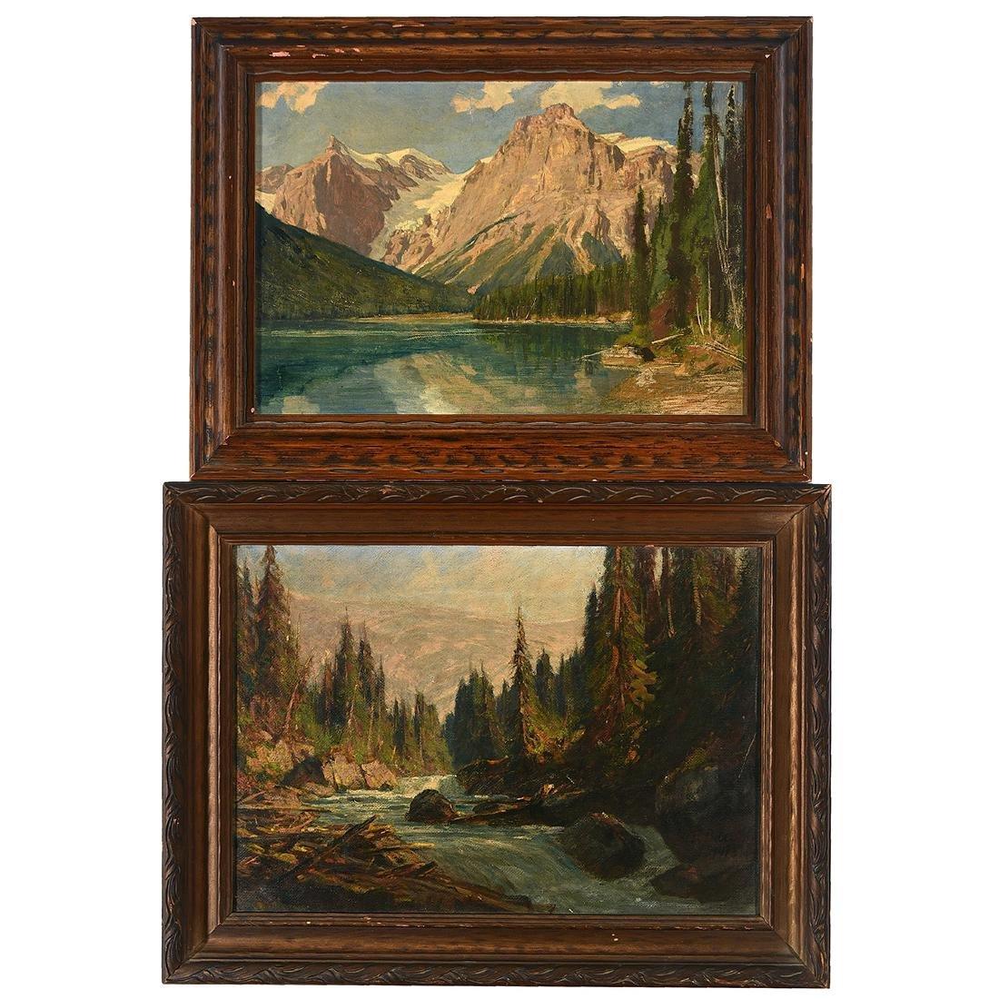 "Franz Biberstein ""Mountain Landscape"" and ""Rushing"
