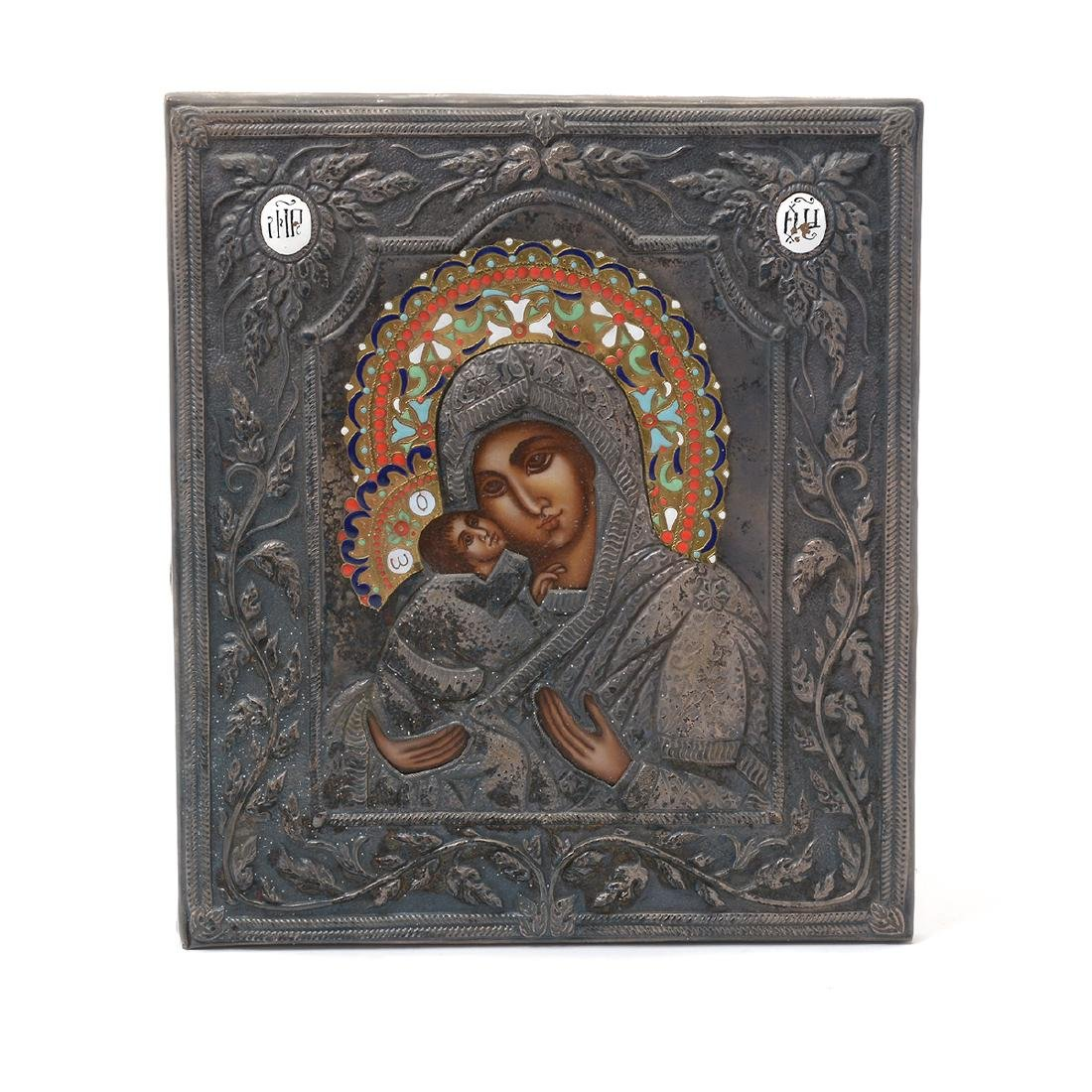 Russian Cloisonne Enamel and Silver Oklad Icon with