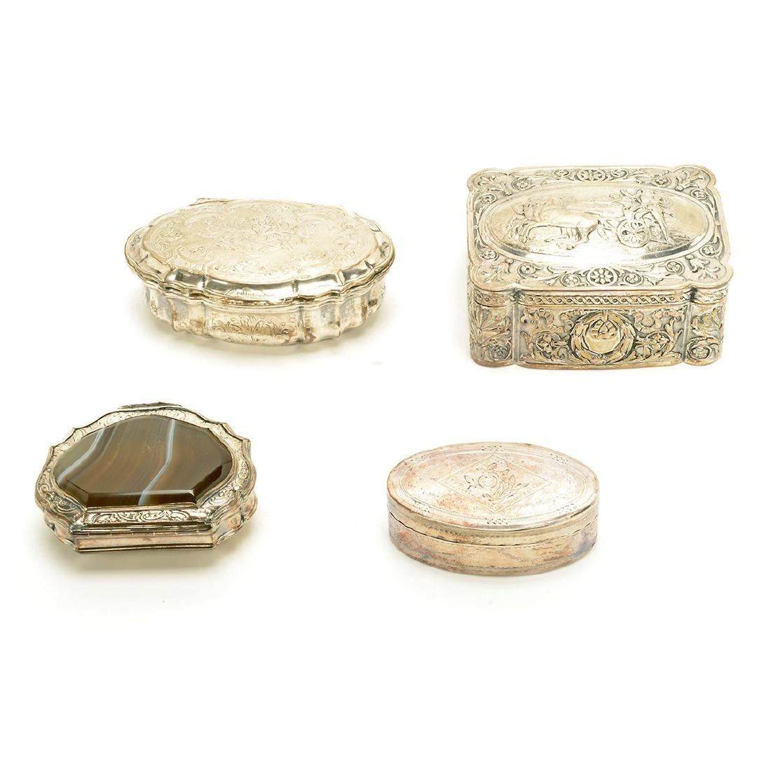 Seven Silver Snuff Boxes and Cigarette Cases