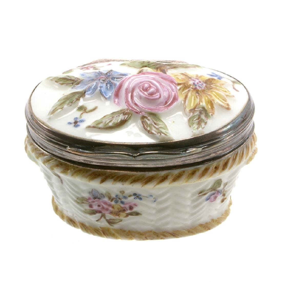 French Mennecy Silver Mounted Porcelain Snuff Box