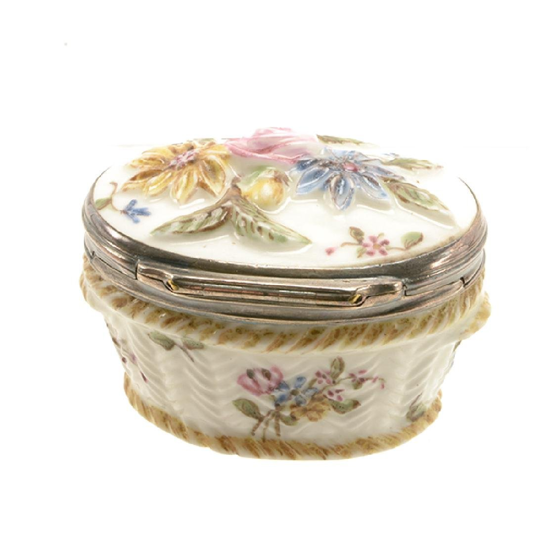 French Mennecy Silver Mounted Porcelain Snuff Box - 3