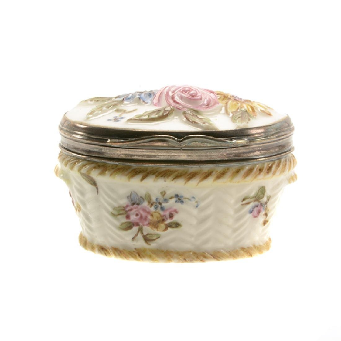 French Mennecy Silver Mounted Porcelain Snuff Box - 7