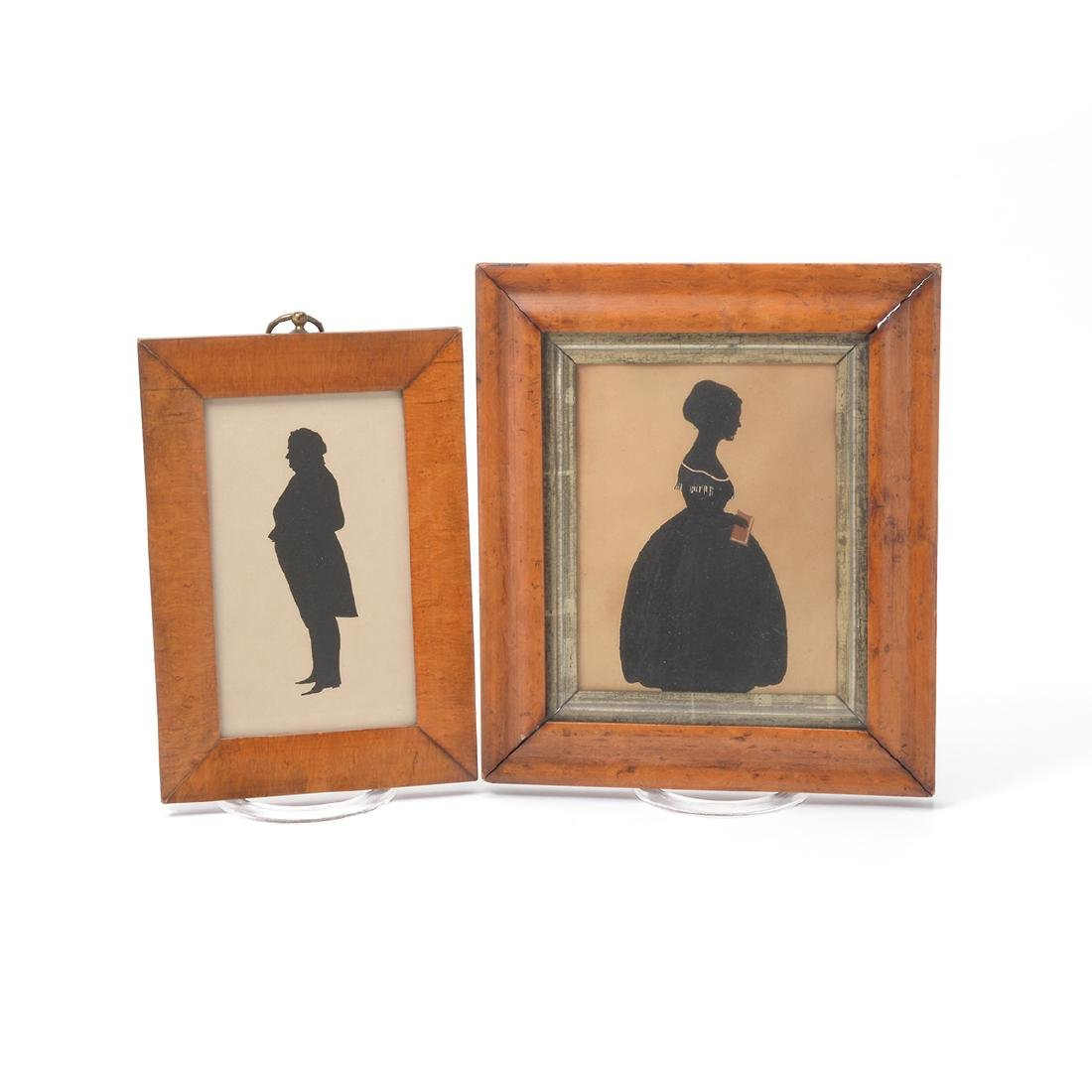 Four Silhouettes (Two of Figural Form in Maple Frames); - 2