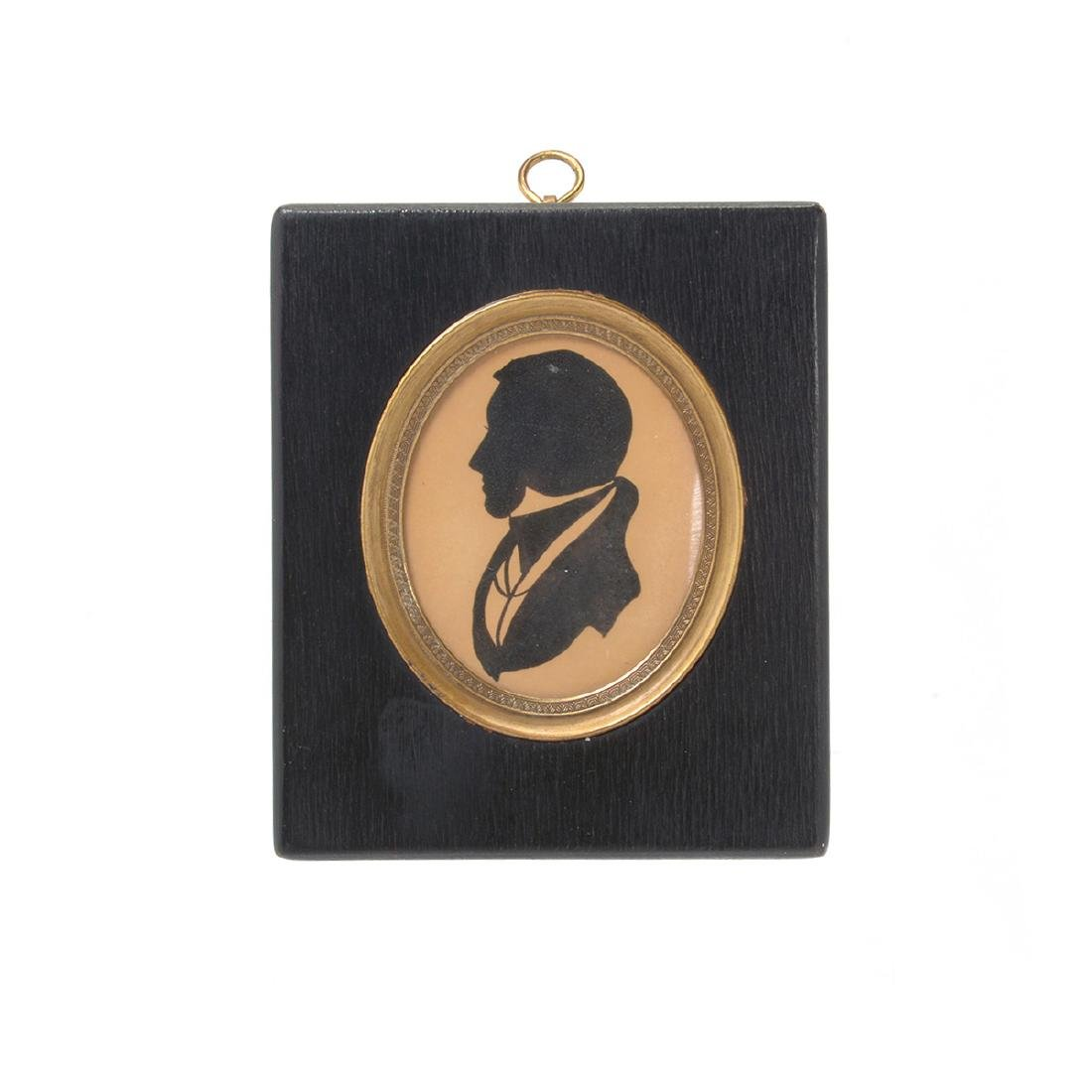 Four Silhouettes (Two of Figural Form in Maple Frames); - 7