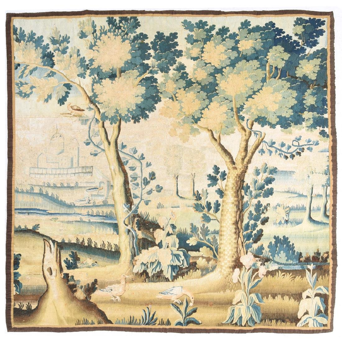 Large Flemish Woven Tapestry, with Forest  Scene in
