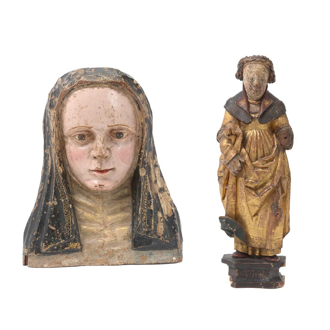 Continental Bust Form Plaque of Madonna and Female