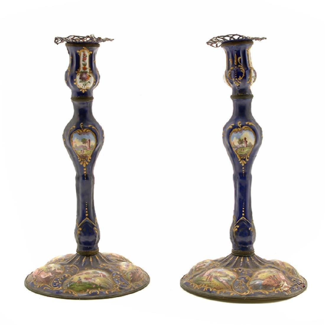 Pair of Limoges Enamel Candlesticks