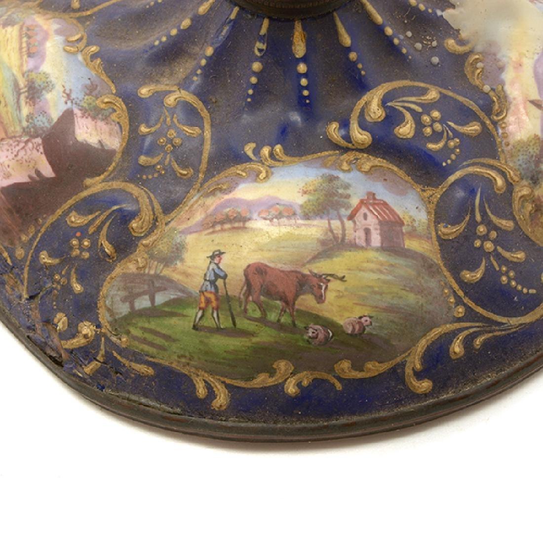 Pair of Limoges Enamel Candlesticks - 8