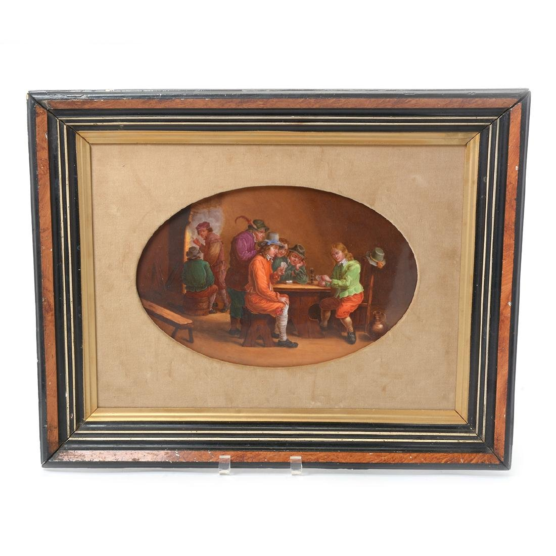 French Porcelain Plaque of Tavern Scene