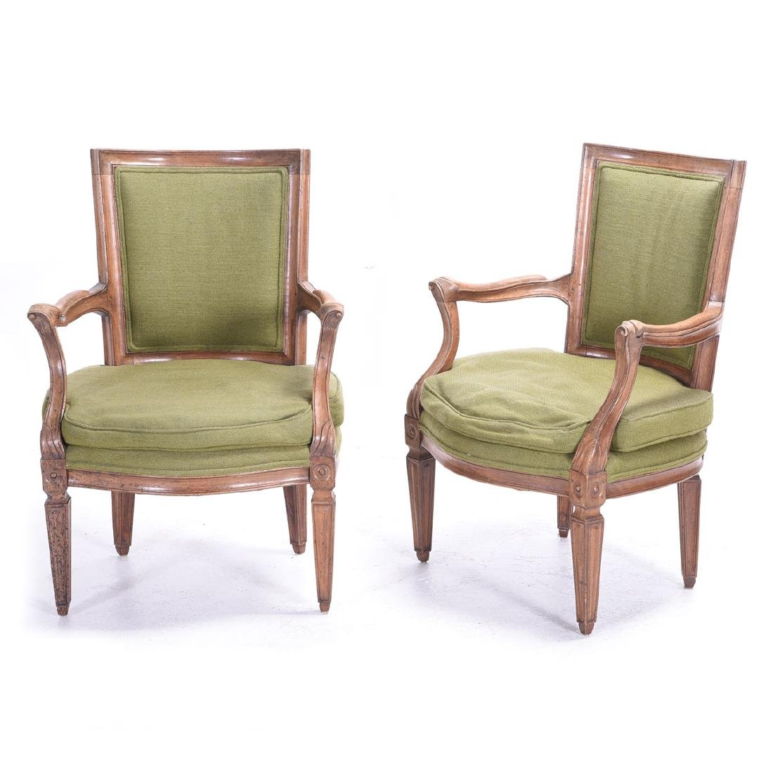 Pair French Provincial Walnut Fauteuils, with Green