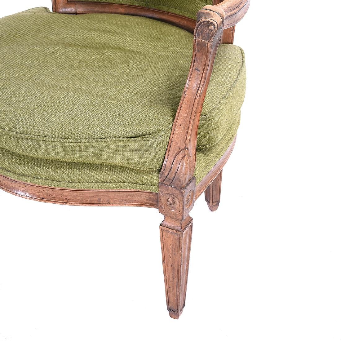 Pair French Provincial Walnut Fauteuils, with Green - 2