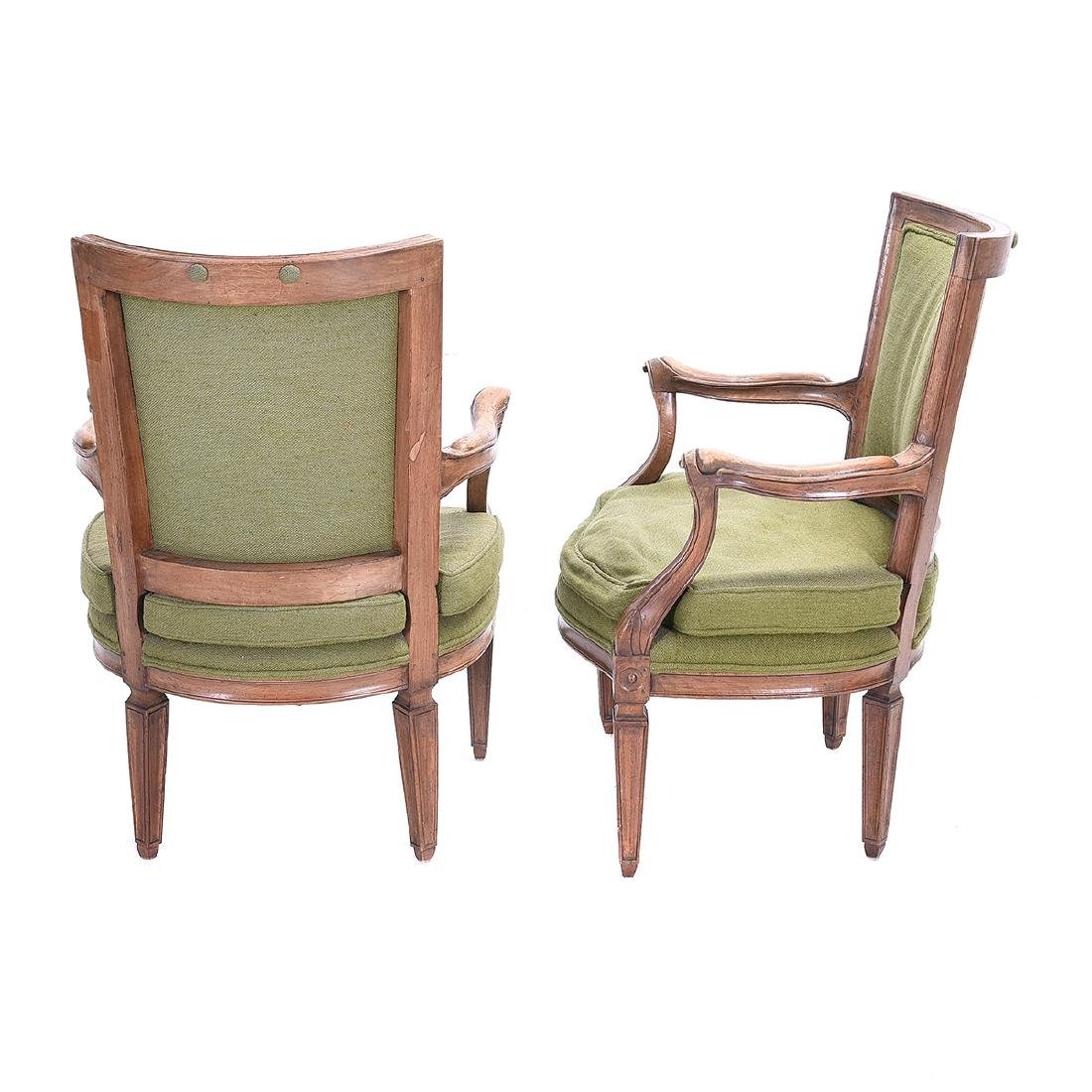 Pair French Provincial Walnut Fauteuils, with Green - 3