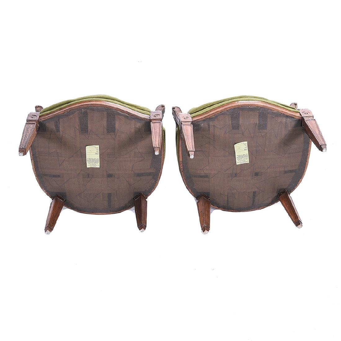 Pair French Provincial Walnut Fauteuils, with Green - 4