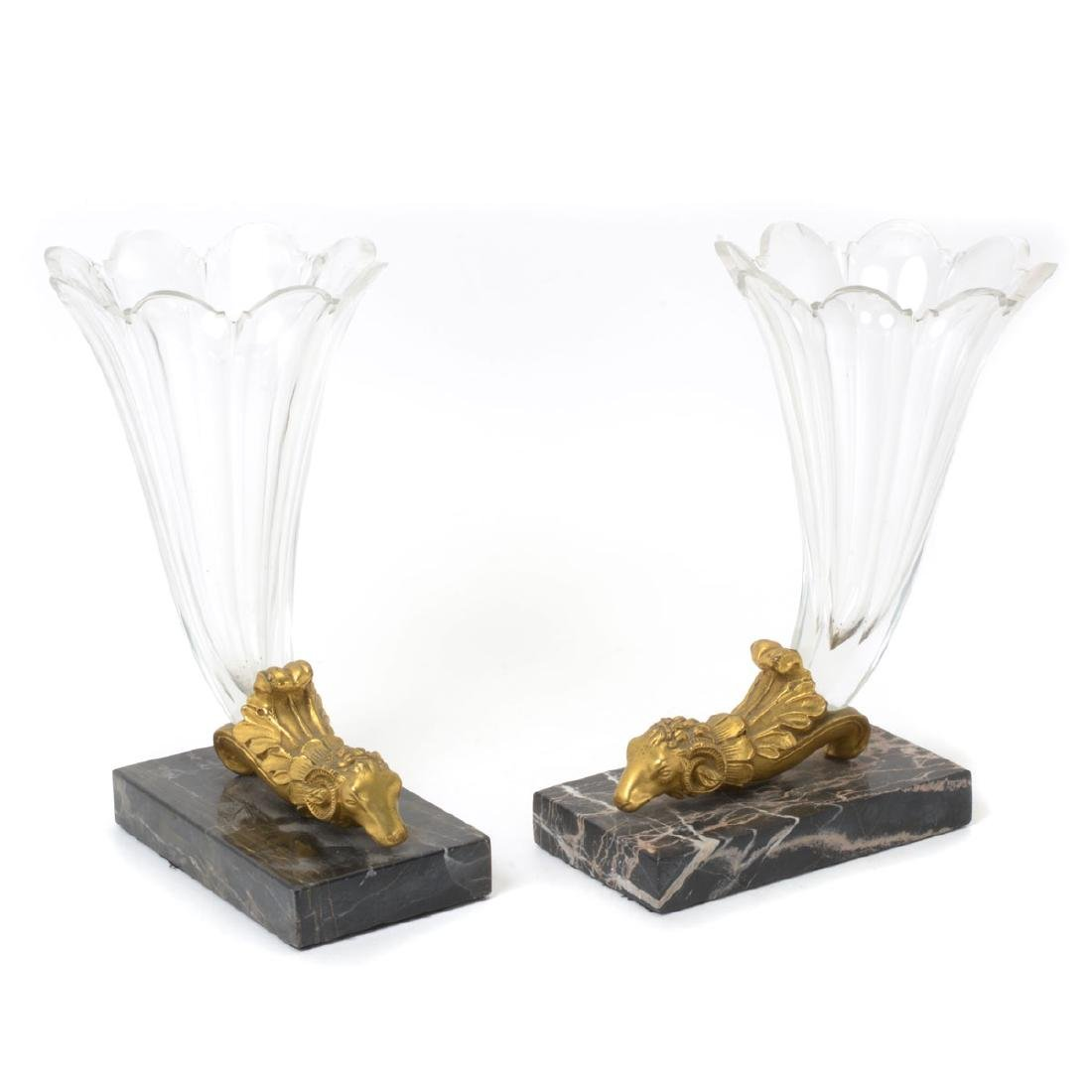 Pair of Charles X Style Gilt Bronze, Marble, and
