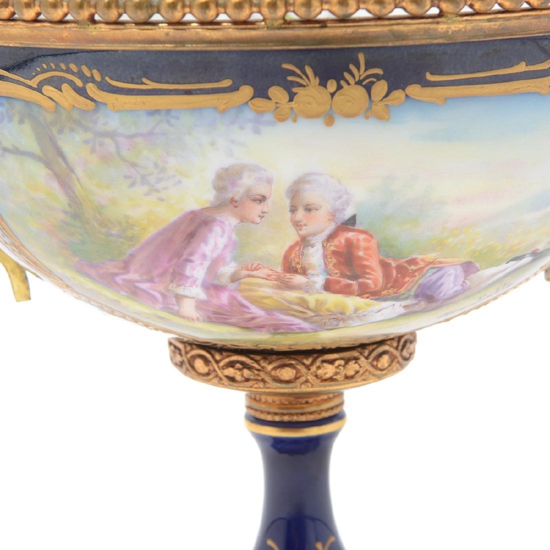Sevres Style Cobalt Blue Porcelain Three Piece - 6