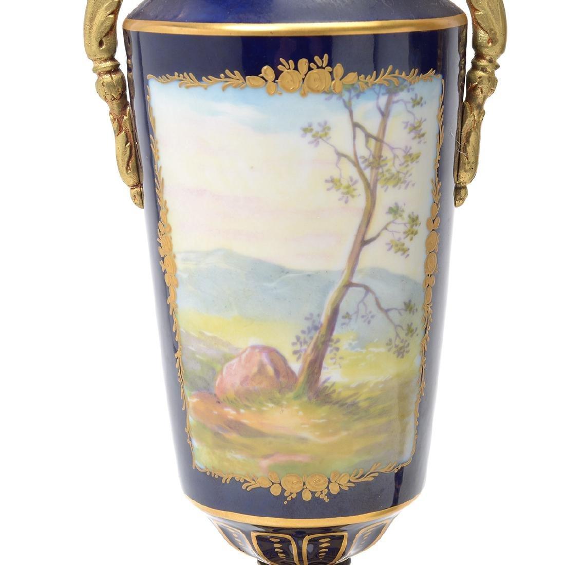 Sevres Style Cobalt Blue Porcelain Three Piece - 7