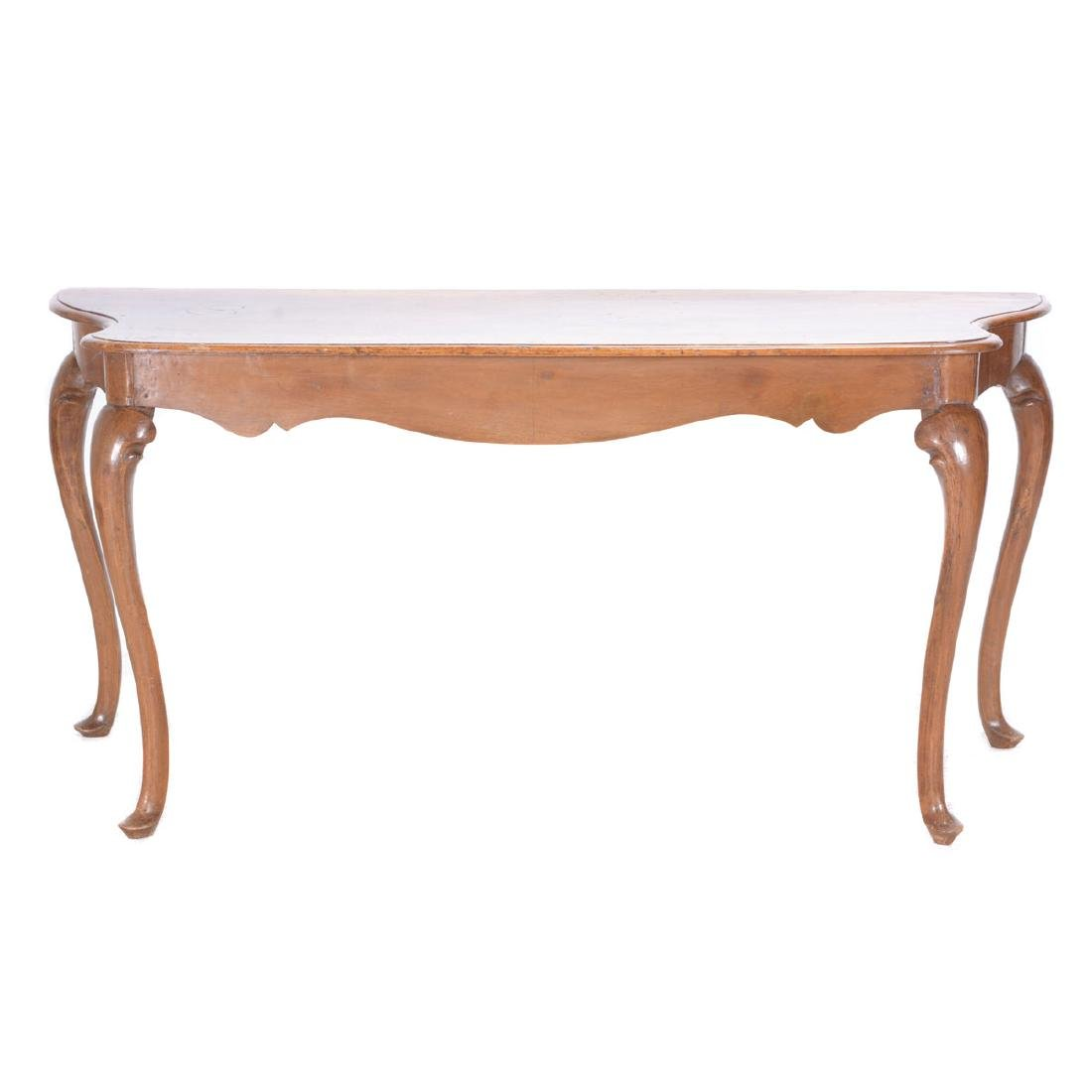 Italian Rococo Walnut Scalloped Edge Console Table