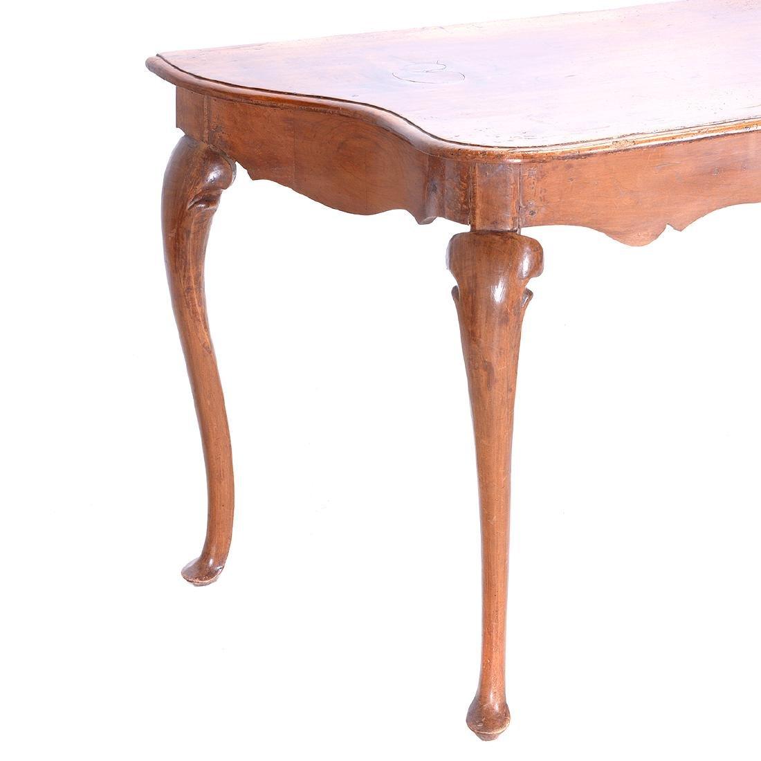 Italian Rococo Walnut Scalloped Edge Console Table - 2