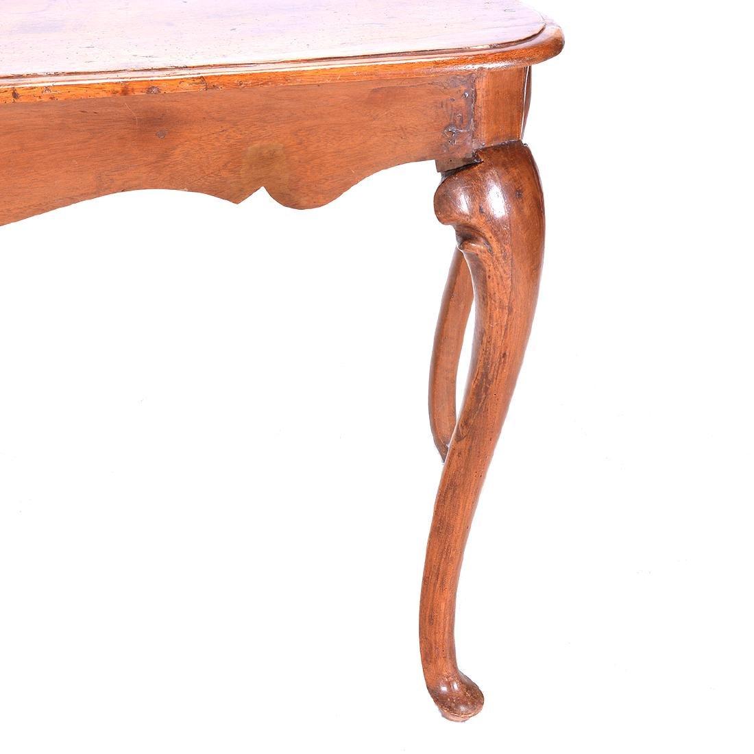 Italian Rococo Walnut Scalloped Edge Console Table - 4
