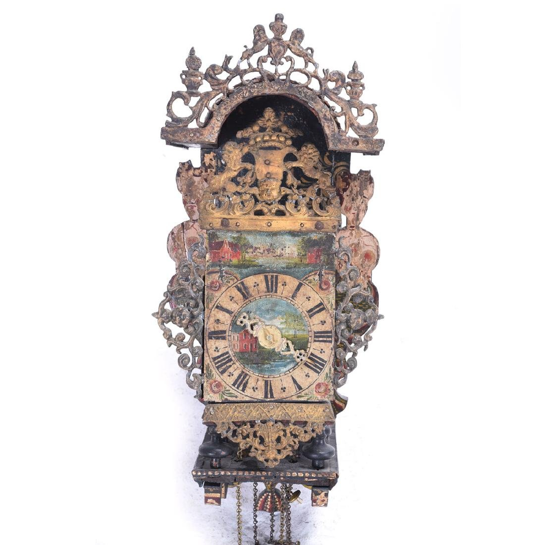 Friesian Painted Wood and Brass Wall Clock, with