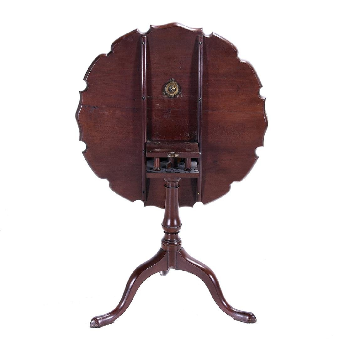 American Chippendale Mahogany Piecrust Tea Table, - 4