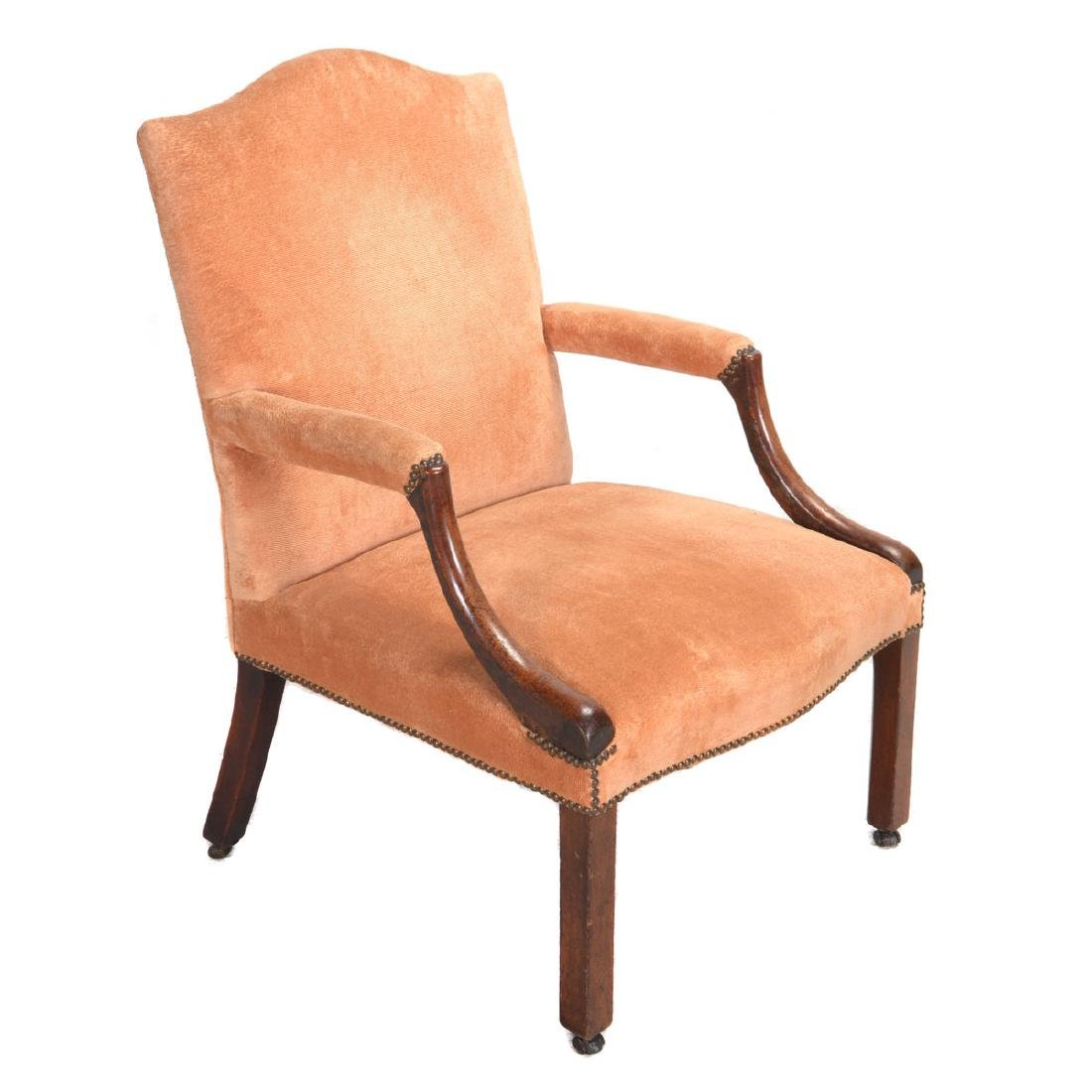 George III Mahogany Upholstered Open Armchair