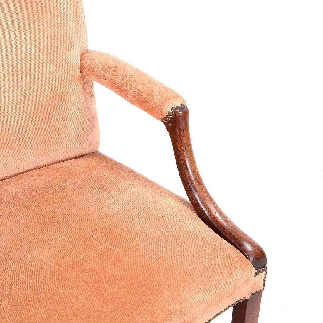 George III Mahogany Upholstered Open Armchair - 3
