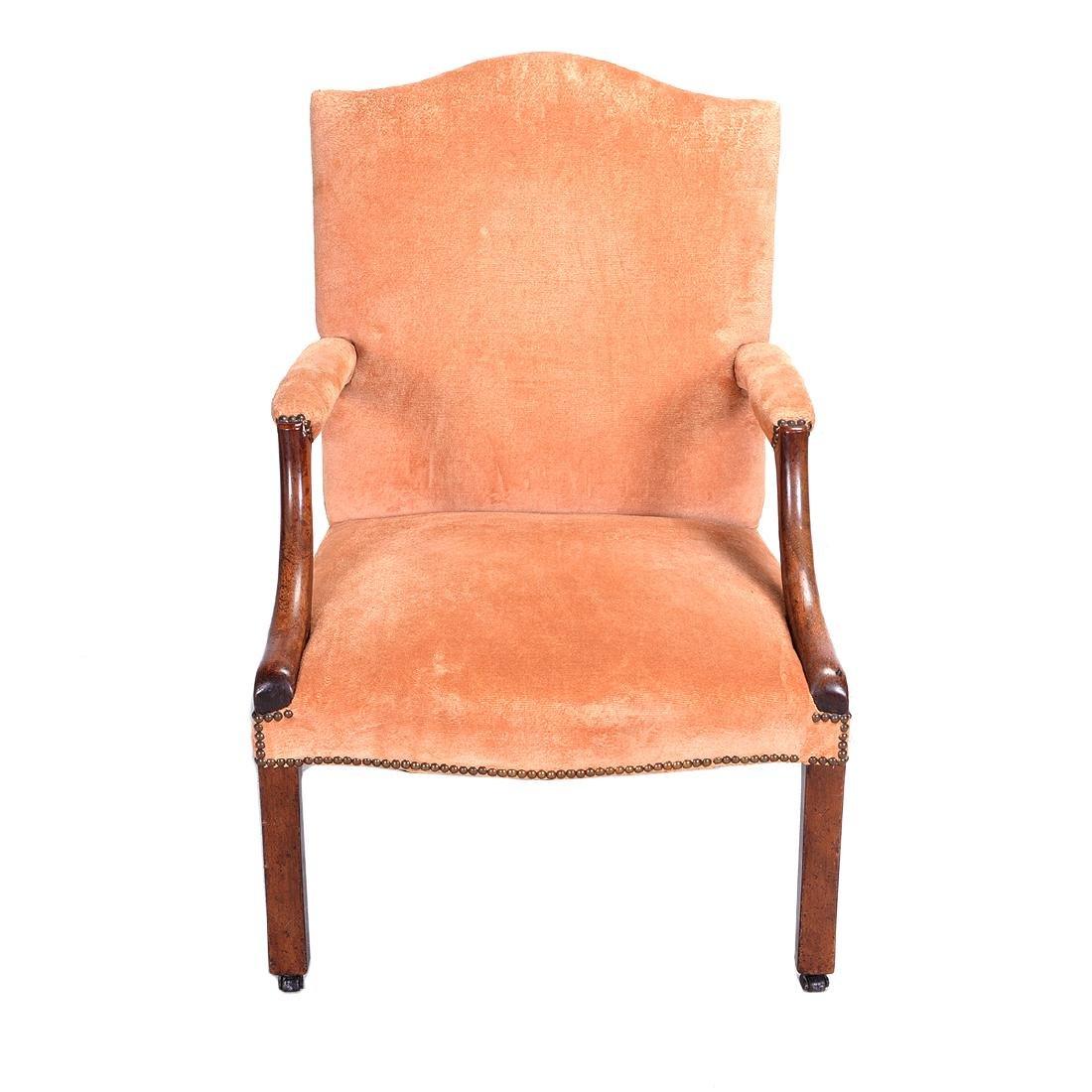 George III Mahogany Upholstered Open Armchair - 4