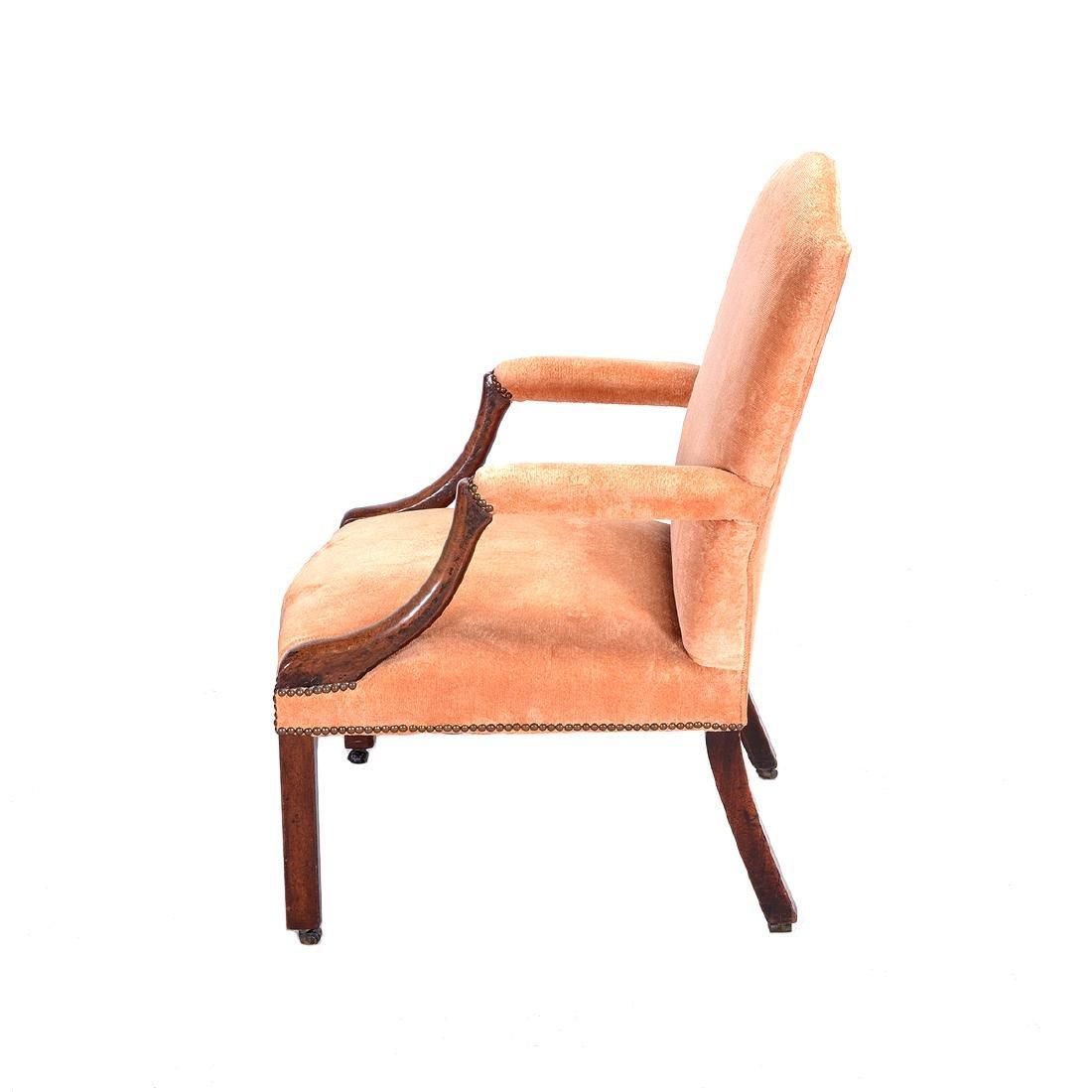 George III Mahogany Upholstered Open Armchair - 5