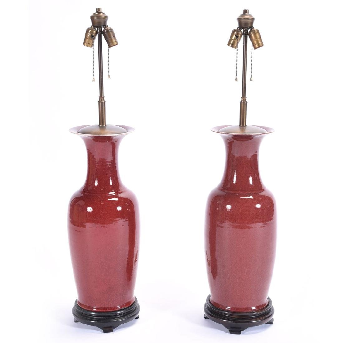 Pair of Chinese Oxblood Monochromatic Vases,