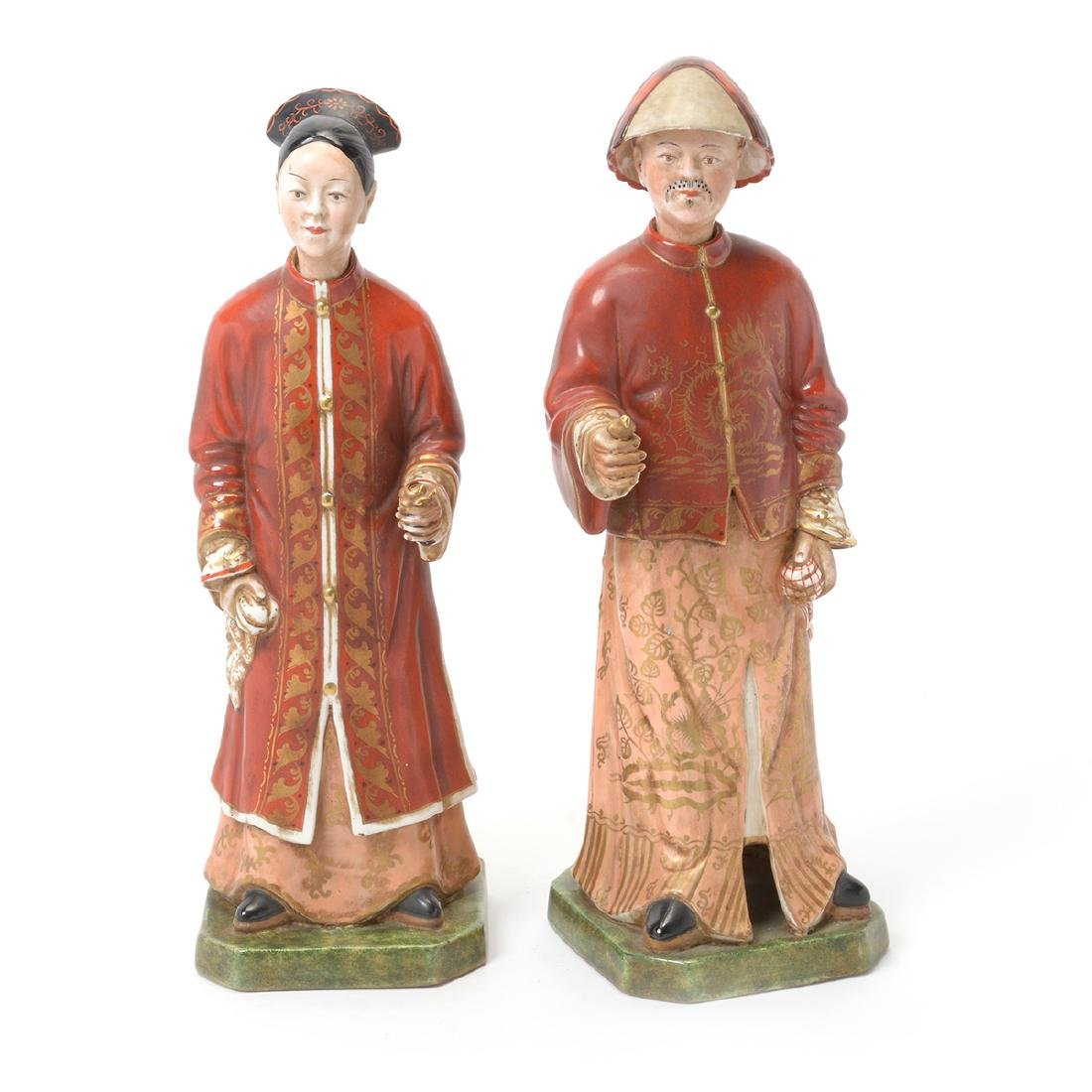 Pair of Italian Porcelain Nodder Figures of Chinoiserie