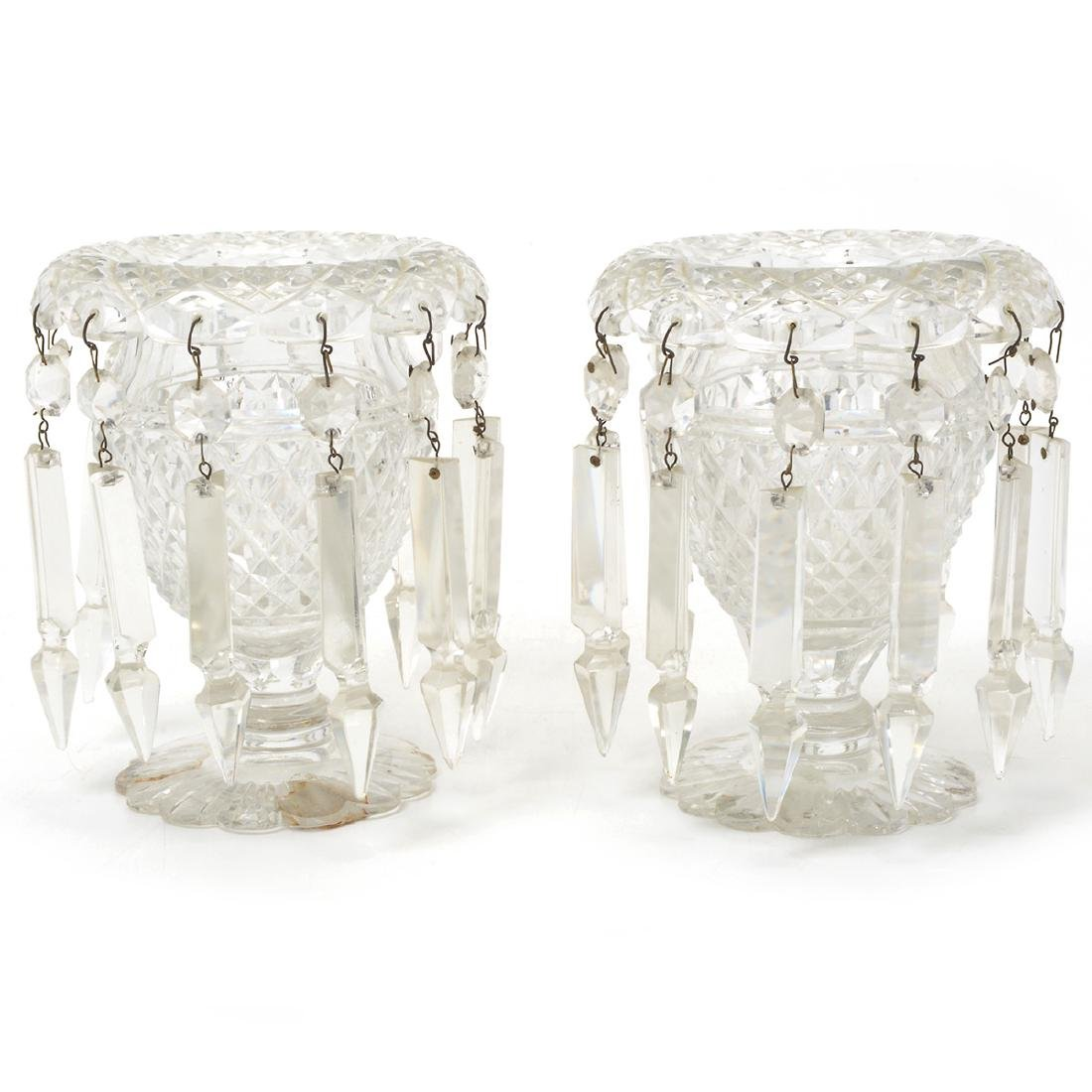 Pair of Victorian Cut Glass Lusters, Late 19th Century
