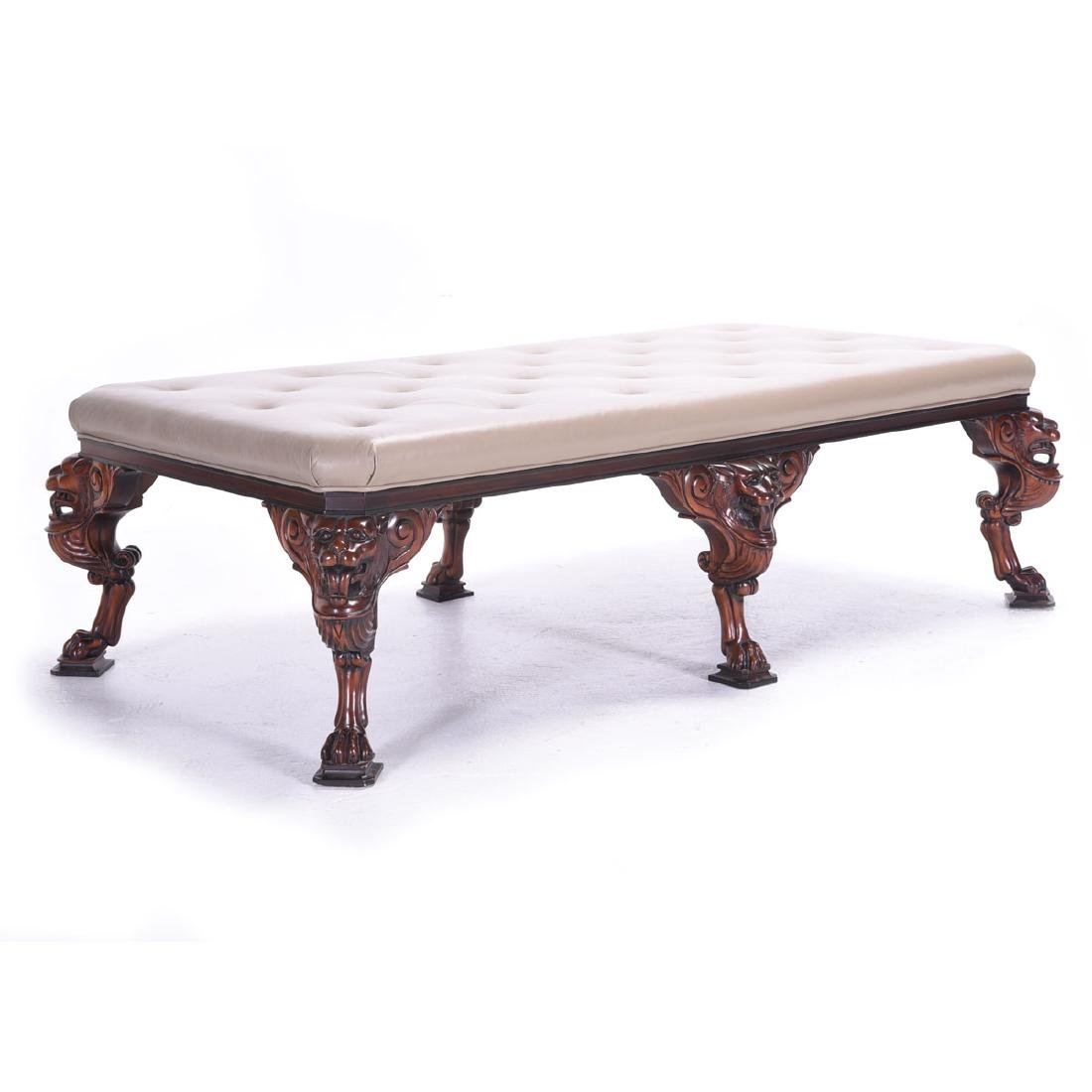 George II Style Hardwood Upholstered Leather Tufted