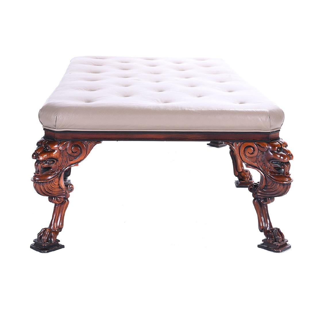 George II Style Hardwood Upholstered Leather Tufted - 4