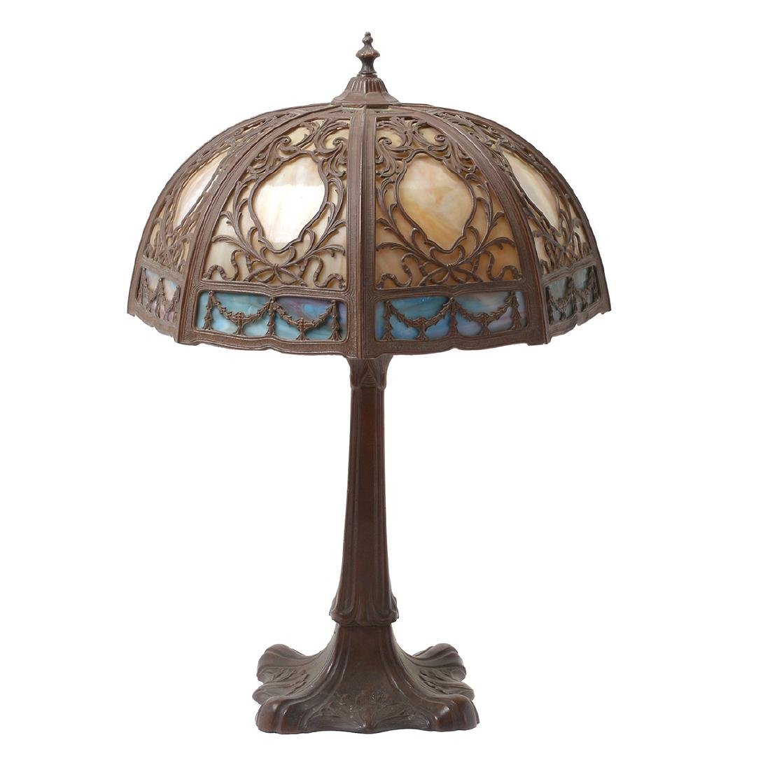 Arts and Crafts Style Metal Table Lamp with Slag Glass