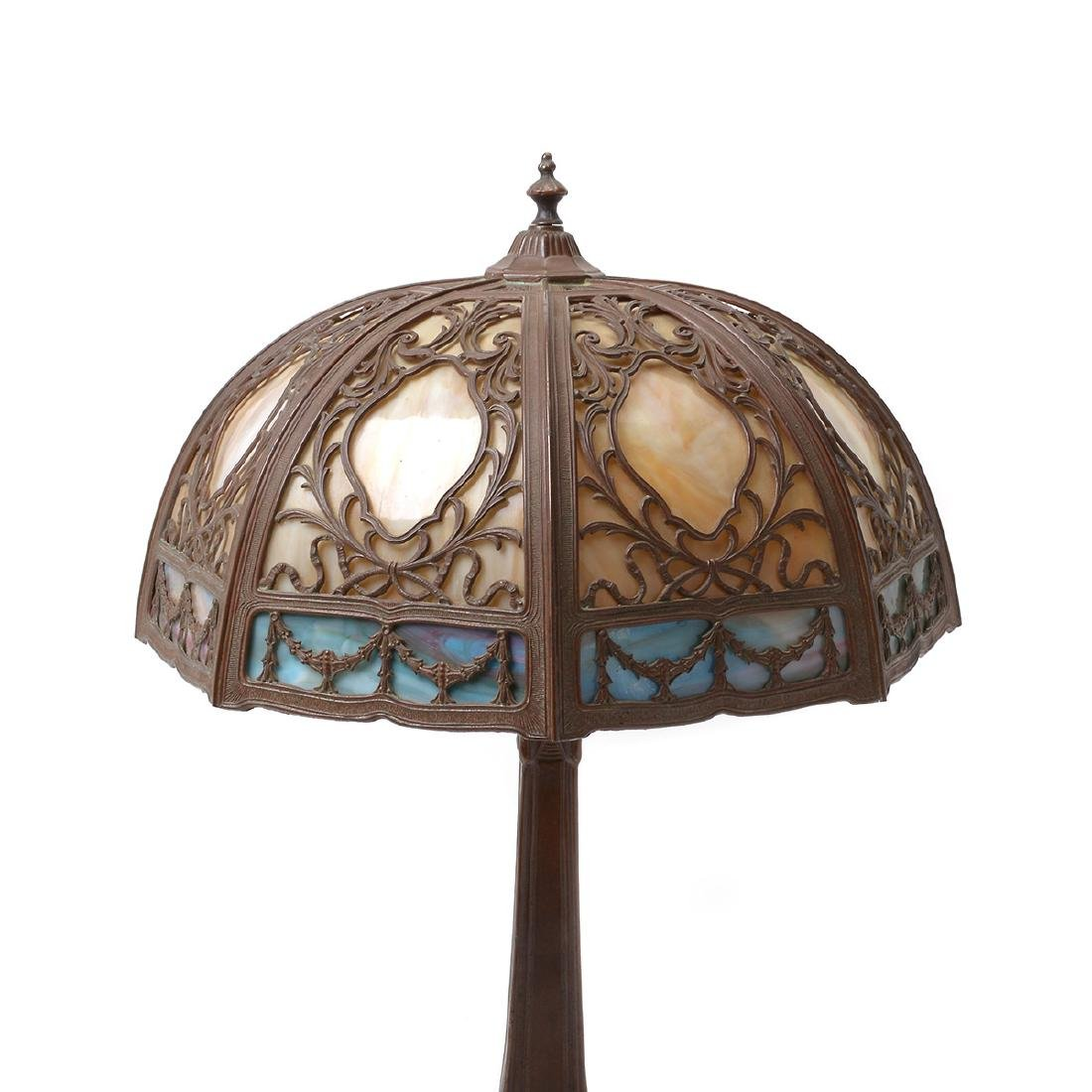 Arts and Crafts Style Metal Table Lamp with Slag Glass - 2