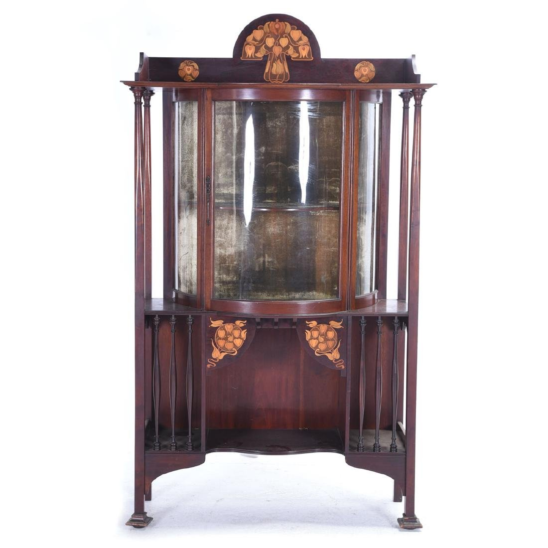 Arts and Crafts Style Mahogany Display Case with Floral