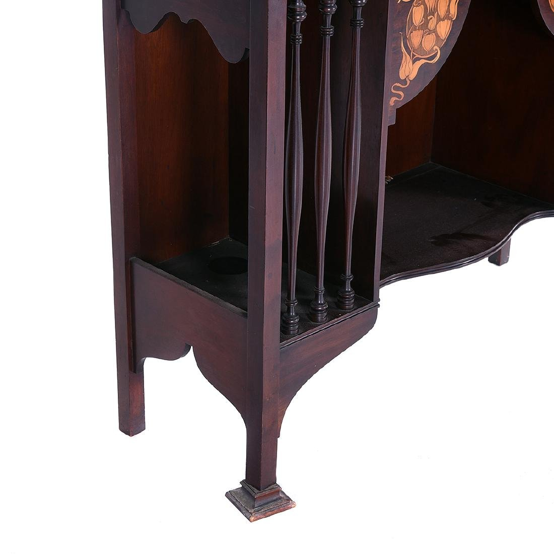 Arts and Crafts Style Mahogany Display Case with Floral - 2