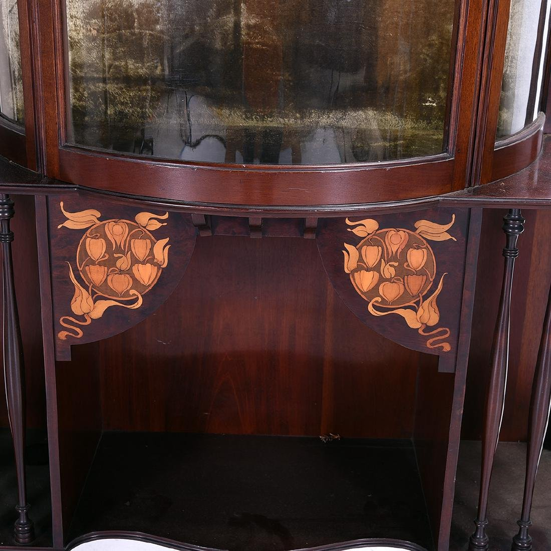 Arts and Crafts Style Mahogany Display Case with Floral - 3