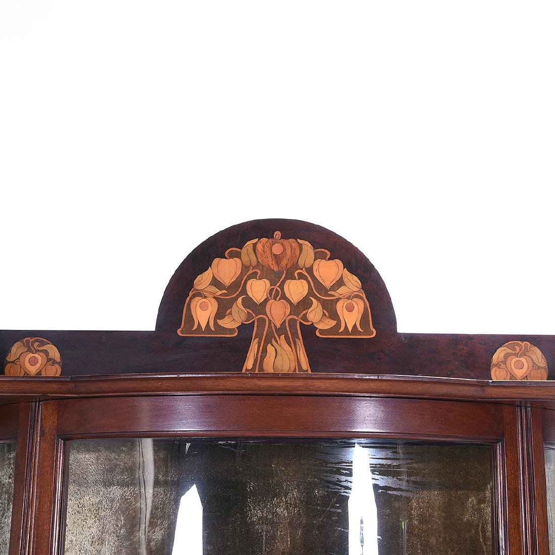 Arts and Crafts Style Mahogany Display Case with Floral - 4