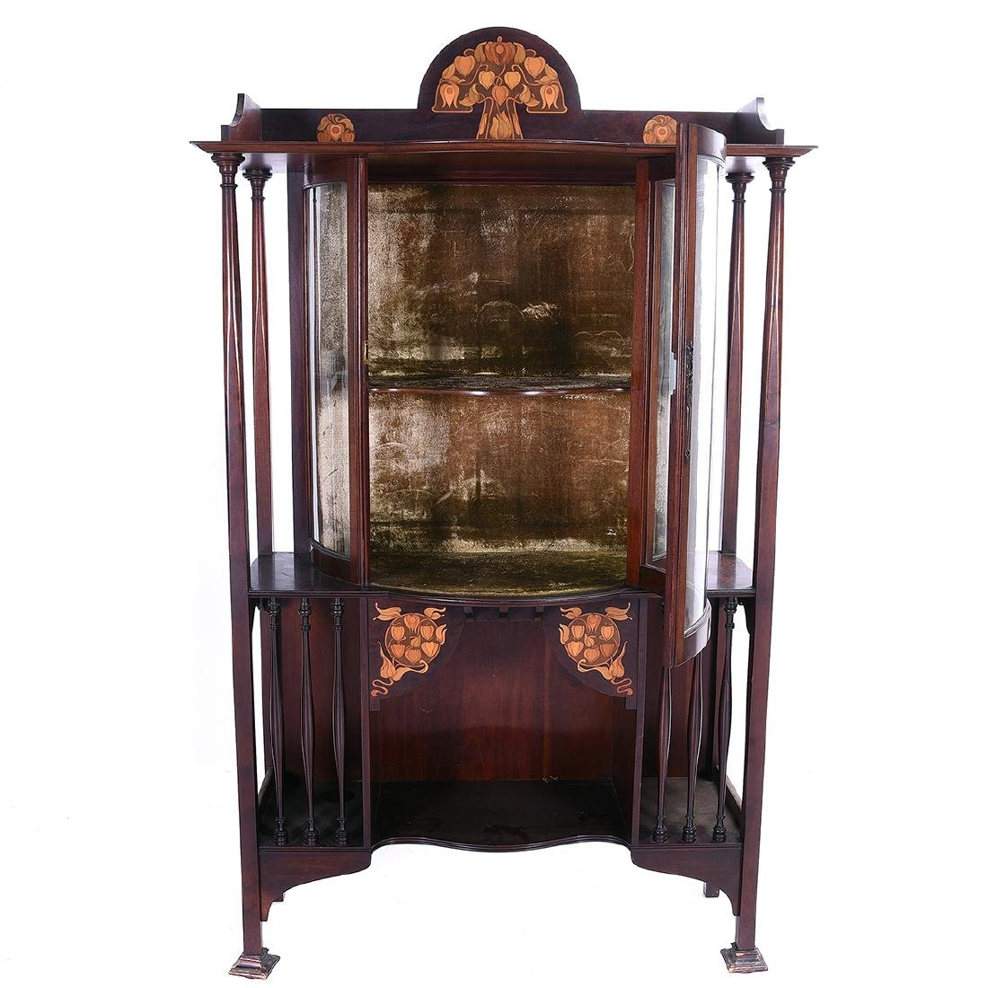 Arts and Crafts Style Mahogany Display Case with Floral - 5