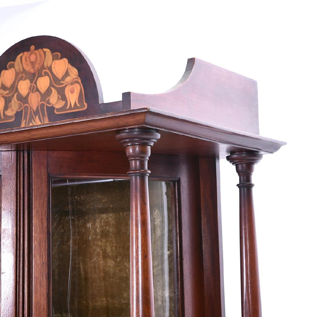 Arts and Crafts Style Mahogany Display Case with Floral - 6