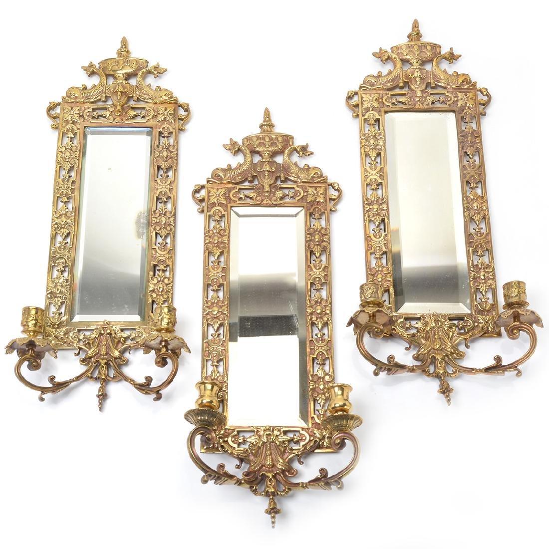 Three Renaissance Revival Brass Mirrored 2 Light