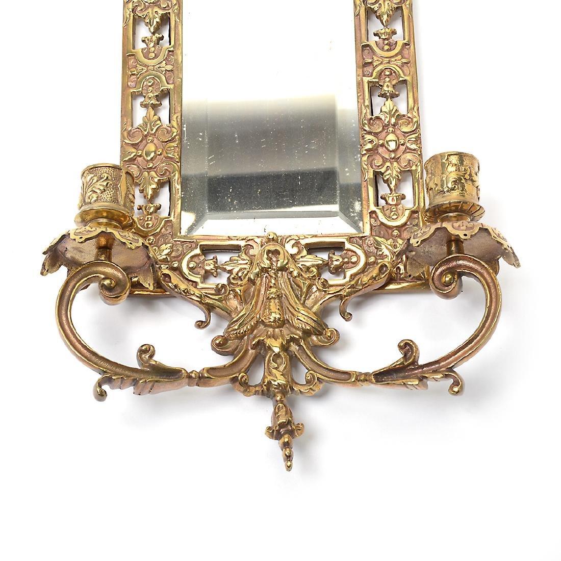 Three Renaissance Revival Brass Mirrored 2 Light - 3