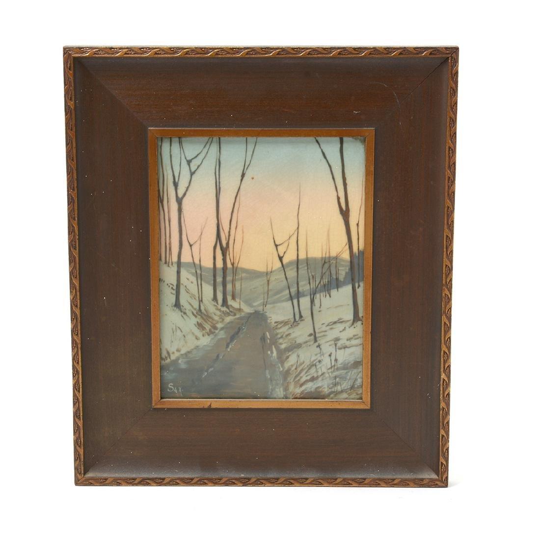 Rookwood Vellum Glazed Plaque, Winter Road Landscape,