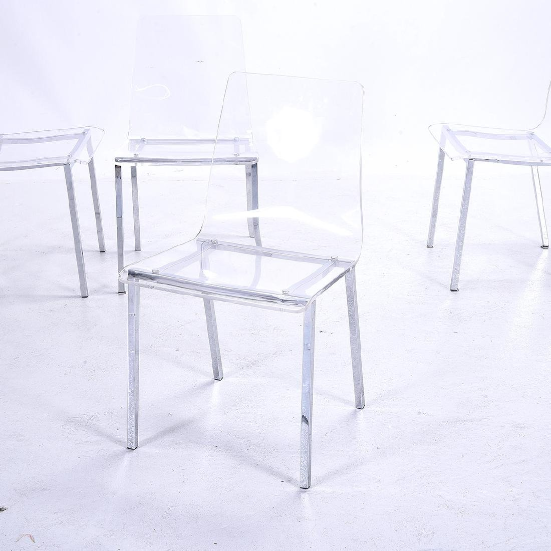 Four Modernist Style Clear Plastic Side Chairs, with - 2