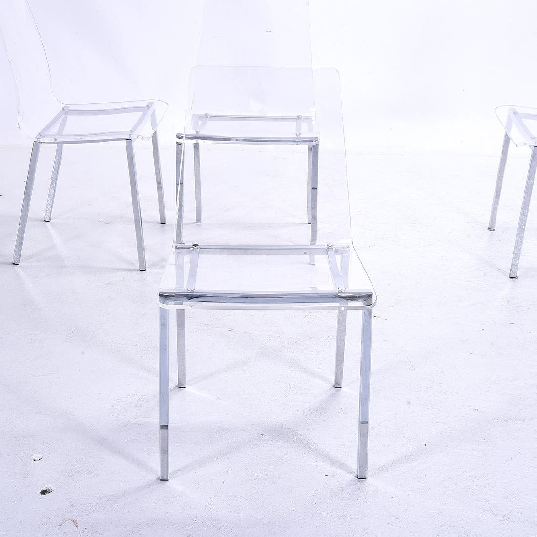 Four Modernist Style Clear Plastic Side Chairs, with - 3