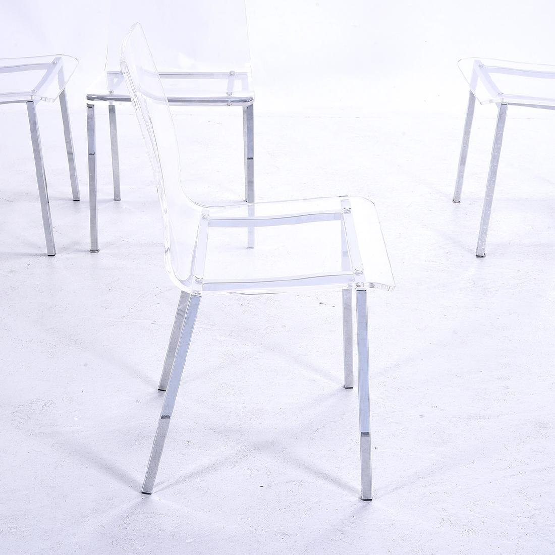 Four Modernist Style Clear Plastic Side Chairs, with - 4