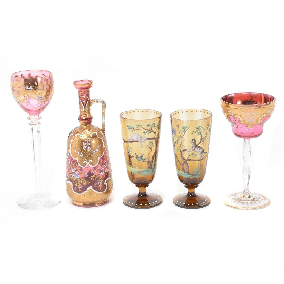 Twenty Bohemian Glass Stemware, Most with Painted