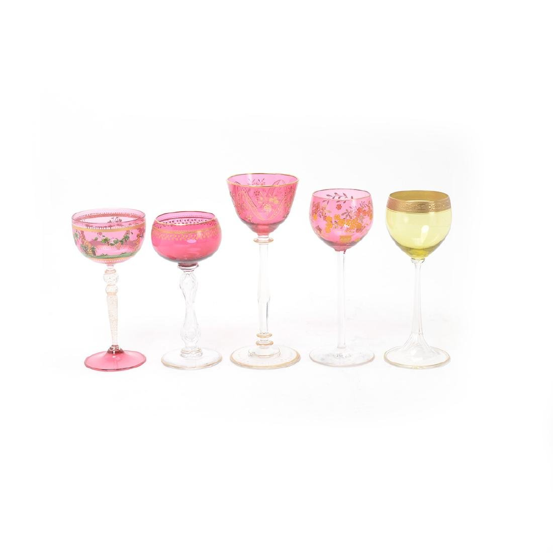 Twenty Bohemian Glass Stemware, Most with Painted - 2